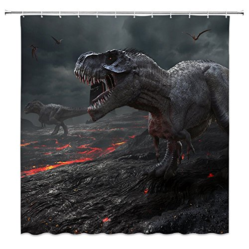 AMNYSF Dinosaur Shower Curtain Jurassic World Wildlife Red Magma Flying Dragons Decor Black Fabric Bathroom Curtains,70x70 Inch Waterproof Polyester with 12pcs Hooks