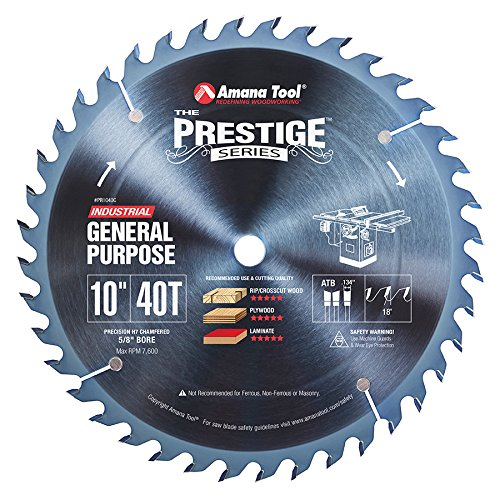 Amana Tool - PR1040C Electro-Blu Carbide Tipped Prestige General Purpose 10 Inch Dia 40T A
