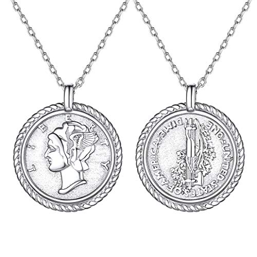 American Statue of Liberty Coin Necklace 925 Sterling Silver Chic Layered Pendant Jewelry for Female Delicate Round Coin Charms for Teens Silver