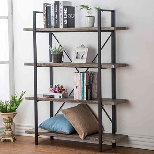 HSH Furniture 4-shelf Vintage Industrial Bookshelf, Rustic Wood and Metal Bookcase, Open Wide Office Etagere Book Shelf, Dark Oak