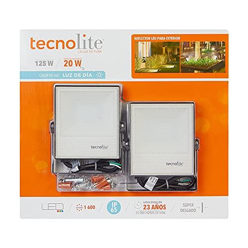 Reflector LED 2 Pack, Exterior. 20 W, Luz De Día, 100-240V, Para Sobreponer, Tecnolite, 1600 Im
