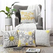 Fundas de Cojín Amarillas Y Grises de 18 X 18 Pulgadas 45 x 45 cm Paquete de 4 Fundas de Almohada Decorativas Fundas de Cojín de Flores para Sofá Dormitorio Sala de Estar Cama Juego de 4