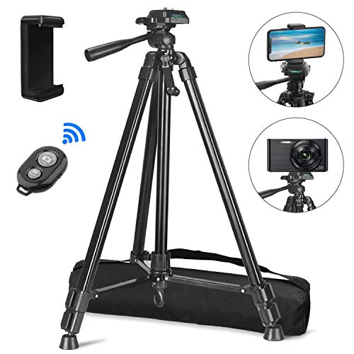 "PEYOU Compatible for iPhone Camera Tripod, 62"" Lightweight Aliminum Travel Camera Tripod Stand with Carry Bag + Wireless Remote + Phone Holder Mount Compatible for iPhone, Samsung & Android Phone"