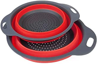 Strainer Colander Colander Set - 2 Collapsible Colanders Strainers-2 Sizes Kitchen Foldable Silicone Strainer Food Strainer (Color : Red)