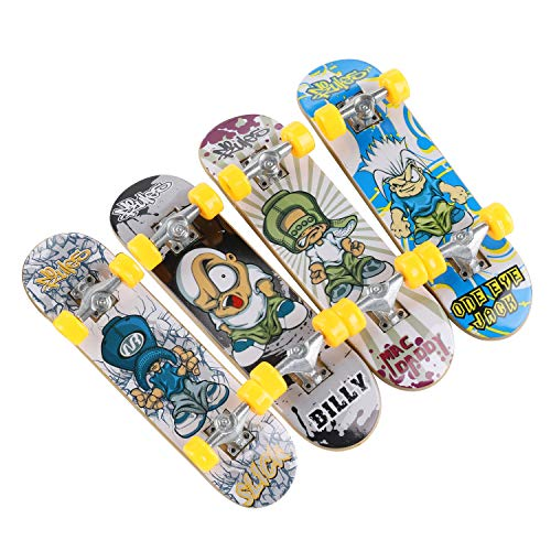 TIME4DEALS Mini Fingerboards Finger Skateboard Toy 4 PCS Professional Finger Board Finger Set Toys Creative Fingertips Movement Skateboard Educational Finger Toy Favors Novelty Toys for Kids Party