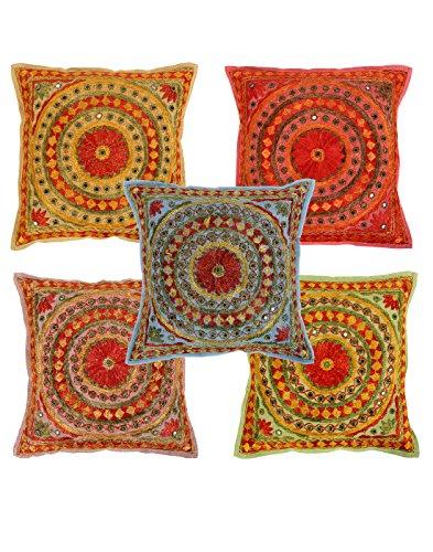 Set Elite su 5 Cuscino floreale più colori a 16 x 16 casi di cotone cuscini da Rajrang