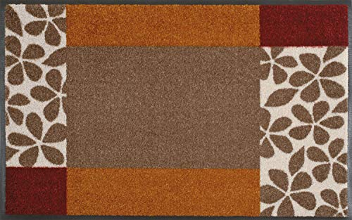 Wash+Dry - Alfombra Florita 50x75, Marrón