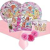ipt Kit Compleanno per 8 Persone n 49 Festa a Tema Winx Decorazioni fatinwe Fate Party stoviglie Bambine Cartone Animato