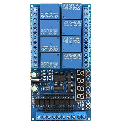 Relaisplatine, DC 12V 8-Kanal Pro Mini-SPS-Relaisabschirmungsmodul Verzögerungs-Timer-Schalttafel für Arduino(#1)