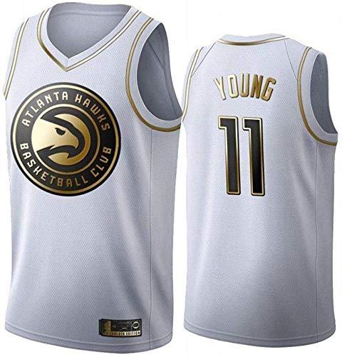 Wo nice Uniformes De Baloncesto para Hombre, Atlanta Hawks # 11 Trae Young NBA Casual Camisetas Camisetas De Ventilador Camisetas Sueltas Y Transpirables Tops,Blanco,L(175~180CM)
