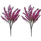 Unishop Set de 2 Ramos de Flores de Colores Artificiales, Flores para Decorar Interior, Plantas con Florecillas Decorativas Falsas para Hogar (Fucsia)