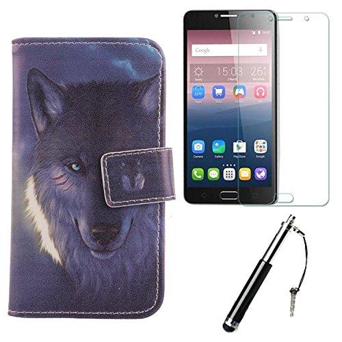 Lankashi Wolf 3in1 Set PU Flip Leder Tasche Für Alcatel Idol 4S 6070K 5.5