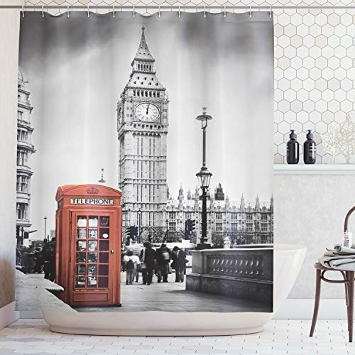 ABAKUHAUS London Shower Curtain, Famous Telephone Booth...