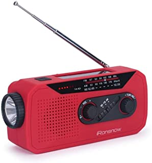 iRonsnow IS-366 Solar Emergency NOAA Weather Radio Hand Crank Windup WB/AM/FM Radios with Earphone Jack & Charge Indicator, 2000mAh Power Bank Phone Charger, Ultra Bright Flashlight for Camping (Red)