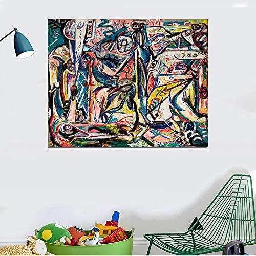 Jackson Pollock Pinturas de lienzo de pared modulares abstractas coloridas imágenes impresiones amd cartel decoración del hogar para sala de estar dormitorio (30x38cm) sin marco