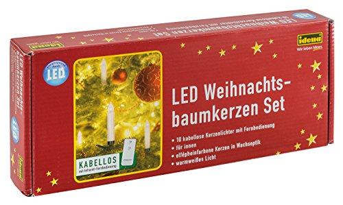 Idena 8582090 – LED julgransbelysning för fastspänning, 10 stycken i varmt vitt, ca 9 cm hög, med dimmer och 6 timmars timerfunktion, batteridriven, med fjärrkontroll