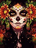 Diamond Painting DIY 5D, Numbering Kit, Sugar Skull Girl Picture Mexico Day of The Dead Artwork Fashion Makeup Wall Art Crystal Rhinestone Embroidery Painting Home Decor Adults Gift(12''Wx 16''H)