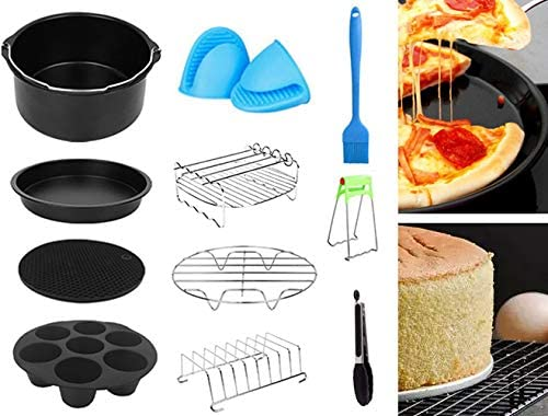 popular OPTIMISTIC Air Baking Fryer Accessories Kit Deep Hot Air Fryer Pan Accessory new arrival Air Fryer Deep Fryer Accessories Kit Non-Stick new arrival Barrel/Pan Metal Holder Rack with Skewers Silicone Mat Included, 7In sale