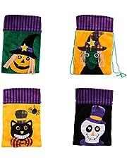 EXCEART Bolsas de Dulces Patrones de Dibujos Animados No Tejidos de Halloween Bolsillos con Cordón para Fiesta de Disfraces 4 Piezas