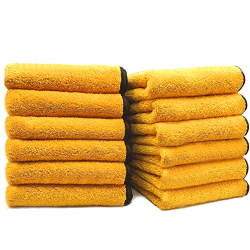 SoLiD 12 Pack Multipurpose Plush Microfiber Edgeless Cleaning Towel for Household, Auto Washing, Car Drying, Detailing