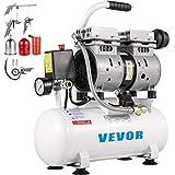 VEVOR Compresor de Aire Ultra Silencioso 9 L, Ultra Quiet Air Compressor 550 W, Compresor de Aire Ultra Silencioso y sin Aceite, 230 V 50 Hz, Capacidad del Tanque 9 L, 58 dB, Con Accesorios Completos