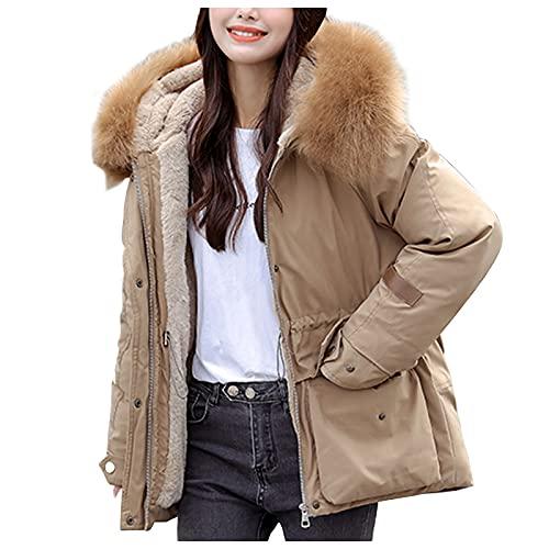 Abrigo acolchado largo para mujer, abrigo de invierno, elegante y cálido, cuello de piel con capucha, informal, abrigo de plumón, parka, chaqueta de invierno con capucha de piel