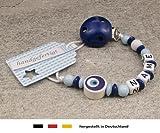 kleinerStorch Baby SCHNULLERKETTE mit Namen - Schnullerhalter mit Wunschnamen - Jungen Motiv Auge von Nazar in dunkelblau