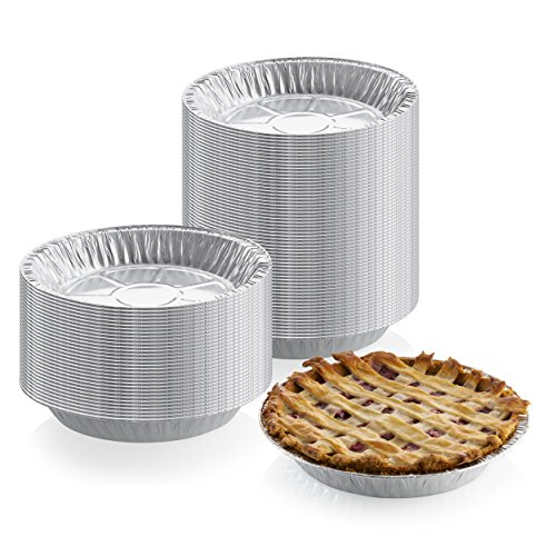9' x 1' Medium Depth Aluminum Silver Foil Pie Pan (Pack of 50) – Disposable Round Tin Plates for Pies, Tart Quiche, Cheese Cake and Deserts, Perfect for Pie Fundraisers