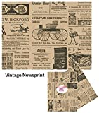 Old Newsprint Tissue Paper - with Vintage Designs for Gift Wrapping 24 Decorative Sheets 20' X 30' (Newspaper)