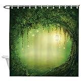 DKISEE Bäume Duschvorhang; Feen-Dekor, Duschvorhang, dekorativer Stoff, Badvorhang mit Haken für Badezimmer-Dekoration, 183 x 200 cm