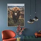 Nórdico Animal Print Lienzo Cartel marrón Highland Ganado Pared Arte Sala decoración Pintura,Pintura sin marco-50X67cm