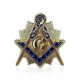 BQuen Square & Compass Gold & Blue Masonic Lapel Pin, Small