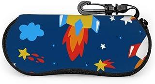 Wthesunshin Funda Gafas Investigación de dibujos animados lindo cohete hermoso Neopreno Estuche Ligero con Cremallera Suav...