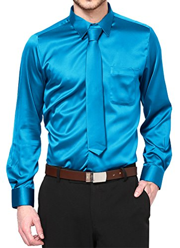 Daniel Ellissa Boys Long Sleeve Satin Shirt Tie and Hanky, Turquoise, Kid's 10 (Kid's 10)