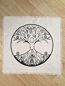 Printed tree of Life Goddess Sacred Geometry Crystal Grid Altar Cloth