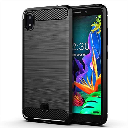 betterfon | LG K20 2019 Hülle Carbon Erscheinungsbild Outdoor Stoßfeste Handy Tasche Hybrid Hülle Schutzhülle TPU Silikon Cover Bumper für LG K20 2019 Schwarz