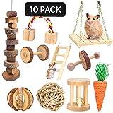 Hamster, jouets à mâcher Guinée Pig Natural Toys gerbille en bois Rats chinchilla Jouets Accessoires Haltères exercice de Bell dents Roller Soins Molar jouets pour les oiseaux Bunny Rabbits gerbilles