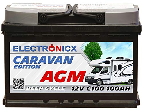 Electronicx Caravan Edition-2 Batterie AGM 100 AH 12V Wohnmobil Boot Versorgung