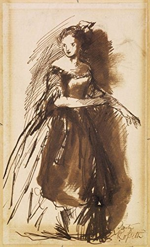 Das Museum Outlet–Weiblich–Frau in Abendkleid, ca1852–A3Poster