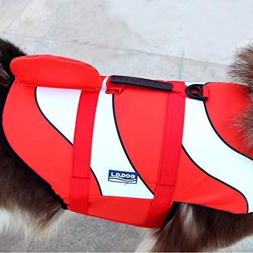 SILD Gilet de Sauvetage pour Chien Gilet de Sauvetage réglable pour Chien - Gilet de Sauvetage pour Animal Domestique - Harnais de Natation (Orange, Medium)