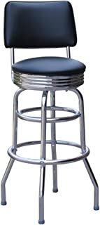 Jet Black 30 Inch Retro Bar Stool with Back - Made in the USA (0-1972BLK)