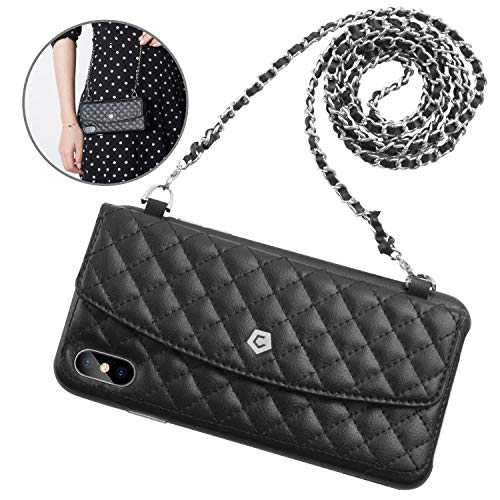 """Cobble Pro Chain Bag Case, Luxury Leather Wallet Flip Case Slim Card Holder w/ 2 Interchangeable Chains & Magnetic Closure Compatible with Apple iPhone Xs Max 6.5"""" inch, Black"""