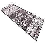 Vintage Teppichläufer   im angesagten Shabby Chic Look   hochwertige Meterware, gekettelt   Kurzflor Teppich Läufer   Küchenläufer, Flurläufer (Braun,80×100 cm) - 3
