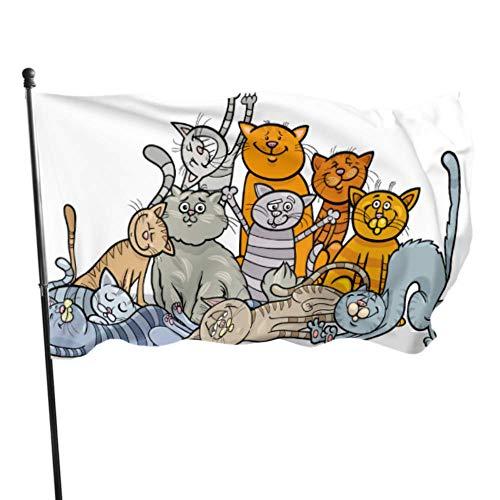 WDDHOME Eine große Gruppe von niedlichen Cartoon Katzen Fahnen Dekor lustige Fahnen für Erwachsene 3 x 5 Fuß lebendige Farben Qualität Polyester und Messing Ösen