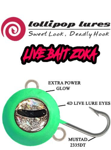 LOLLIPOP LURES ZOKA Ball Jig KABURA y Sistema de Cebo Live Bait ZOKA Full Luminous 140g