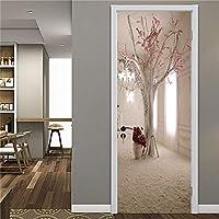 ドアステッカー 3Dドアステッカー木材接着剤ドアリビングルームのベッドルームのポスター壁画デカールホームデコレーションdeursticker用防水の壁紙 (Color : DZMT014, Sticker Size : 77x200cm)