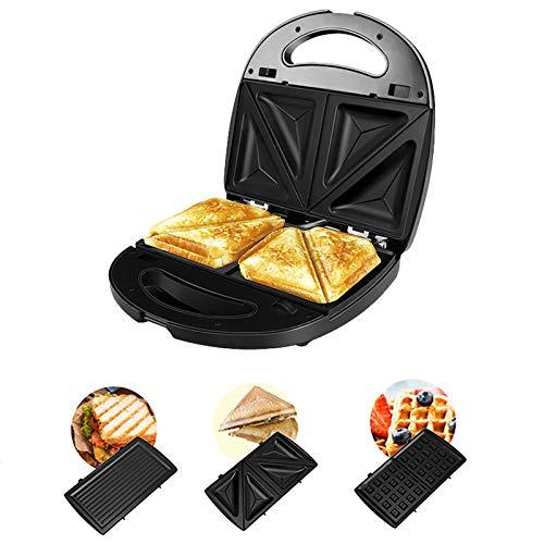 Mcgradyxm Piastra per Waffle 3 in 1 Sandwich Maker Rotonda 750W Waffle Maker, Macchina per Waffel 3 Set di Piastre Rimovibili con Rivestimento Antiaderente, Può fare Toast, Waffle, Carne