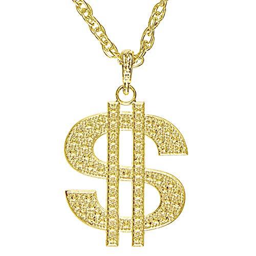 Widmann WID4878D 4878D - Halskette Dollar, gold, Schmuck, Accessoire, Mottoparty, Karneval