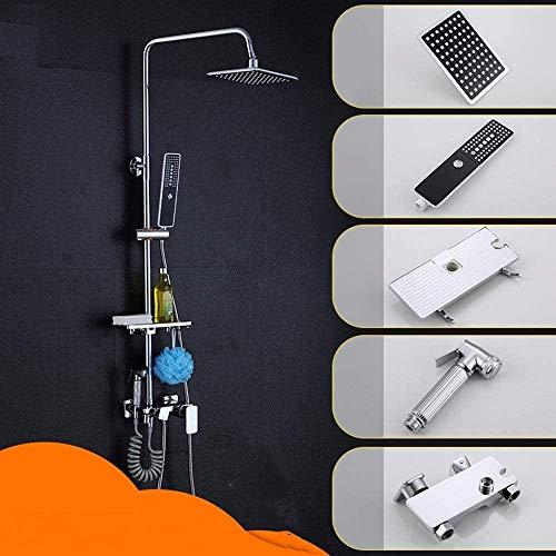 ZouYongKang Sistema de ducha, ducha montada en la pared Conjunto de grifo de ducha Kit para baño, cabezal de ducha de alta presión de alta presión y cabezal de ducha de papel de 3 puestos con bañera y