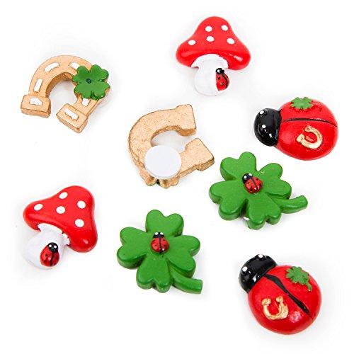 8 piezas pequeñas de la suerte, símbolo de la suerte, herradura, seta de la suerte, mariquita, trébol de la suerte, en verde, oro y rojo, decoración para fiestas de año nuevo